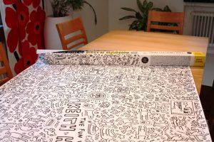 XXL-Keith-Haring-Tischdeko-Vorbereitung