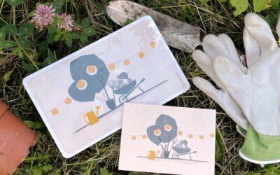 Happy Gardening: Frühstücksbrettchen & Postkarte